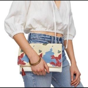 Rachel Pally Reversible red & blue floral clutch